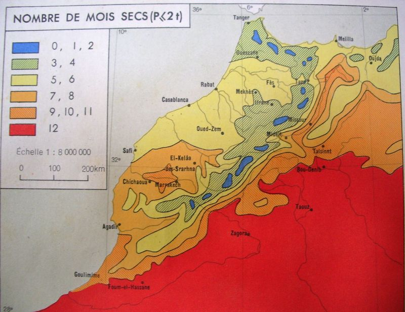 TALIM Precipitations annuelles mois secs