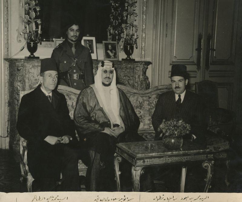 TALIM ELTAHER1947 - King Saud, Mohamed Ben Abboud and Eltaher