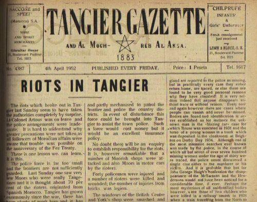 TALIM 1952 Riots Tangier Gazette